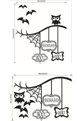 İnce Reklam Halloween Pencere Yapıştır Cam Yapıştır Örümcek Yarasa Baykuş Seti