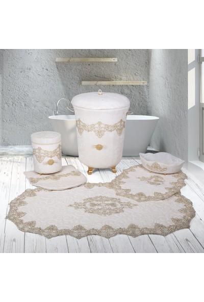 Bonny Home Aplique Lux Krem 6 Prç Dantelli Banyo Kirli Çamaşır Sepeti Seti ve Banyo Paspası Seti
