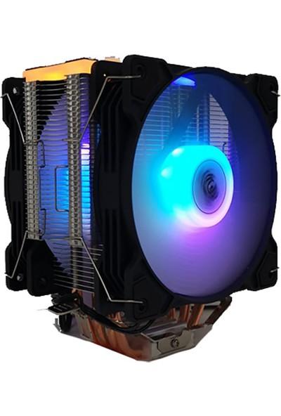 Snowman T4 4 Bakır Borulu Cpu Soğutucu Fan Rgb Light Board Çift Fan