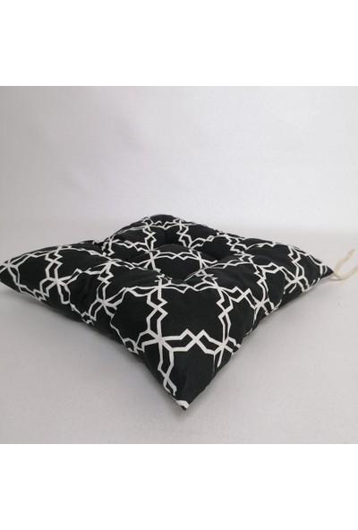 Apaydın Siyah Beyaz Renk Sandalye Minderi Morocco Desenli Duck Kumaş