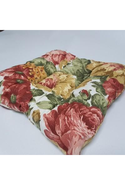 Apaydın Çiçek Desenli Sandalye Minderi Duck Kumaş Pofidik Kare Minder