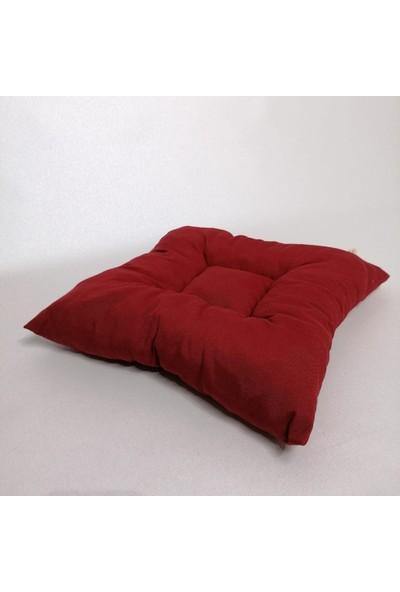 Apaydın Düz Renk Pofidik Sandalye Minderi Bordo Renk