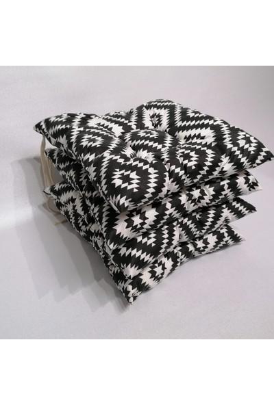 Apaydın Siyah Beyaz Renk Sandalye Minderi Geometrik Desenli Duck Kumaş