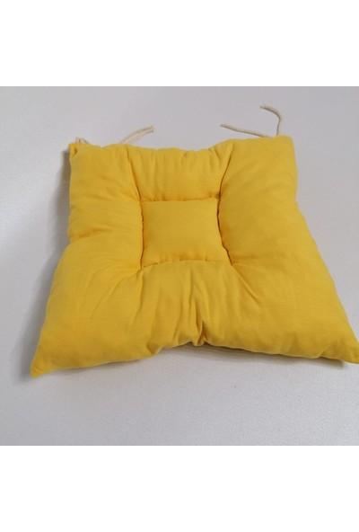 Apaydın Düz Renk Pofidik Sandalye Minderi Sarı Renk