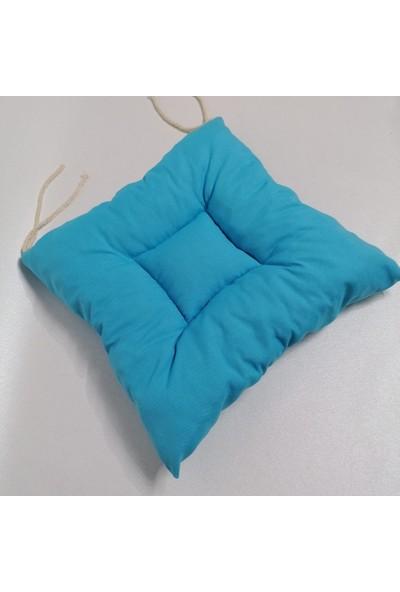 Apaydın Düz Renk Pofidik Sandalye Minderi Açık Turkuaz Renk