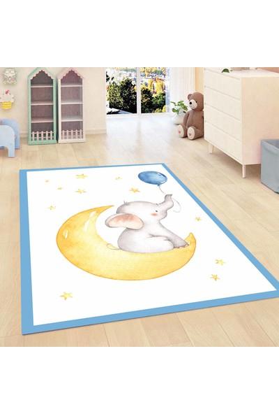 Elise Kadser Mavi Filli Ay Yıldız 3D Modern Bebek Çocuk Halısı 120X175