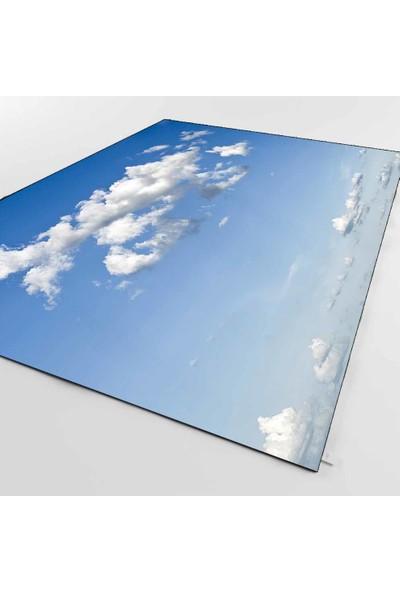 Elise Kadser Mavi Gökyüzü Bulutlar 3D Kaymaz Taban Modern Salon Halısı 80X150