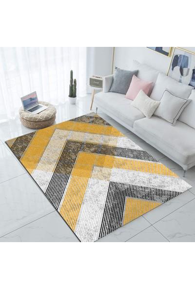Elise Else Sarı Gri Çizgiler Modern Desenli Salon Halısı 130X180