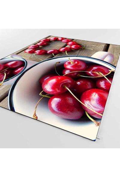 Elise Kadser Kiraz Tabaklı Meyveli Modern Dijital Baskılı Mutfak Halısı 120X180