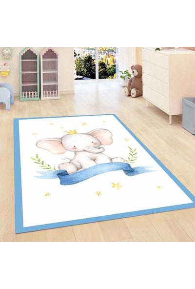 Elise Kadser Mavi Hayvanlı Filli 3D Modern Bebek Erkek Çocuk Halısı 80X150