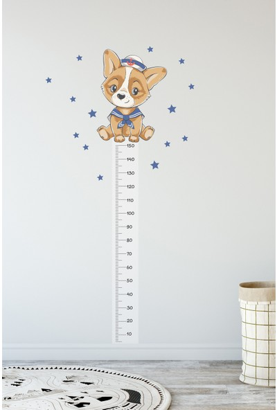 Sim Tasarım - SIM40 - Sevimli Kaptan Köpek Boy Ölçer Duvar Sticker