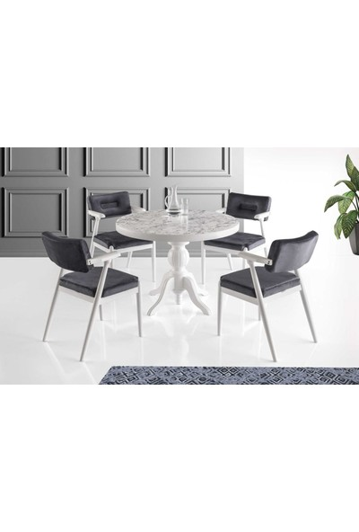 VRL Madeline 105 Mutfak Cafe Masası Lagos Sandalye Takımı