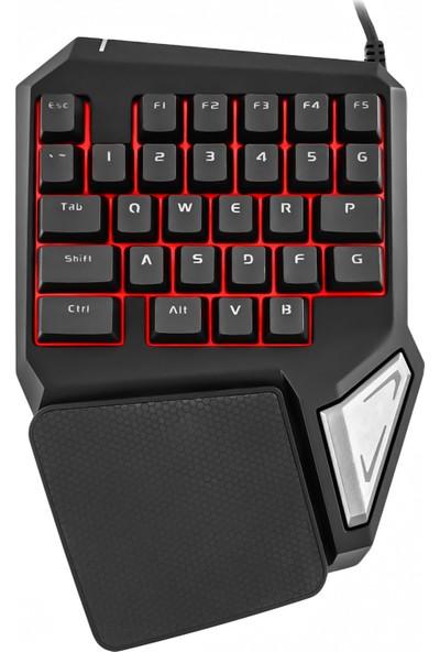 MF Product Strike 0585 Kablolu Tek El Mekanik Hisli Mini Oyun Klavyesi Siyah
