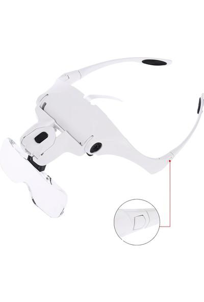 Nikula 5 Lensli 2 LED Işıklı Ayarlanabilir Gözlük Tipi Büyüteç - 1.0x - 3.5x Zoom - Üstün Kalite