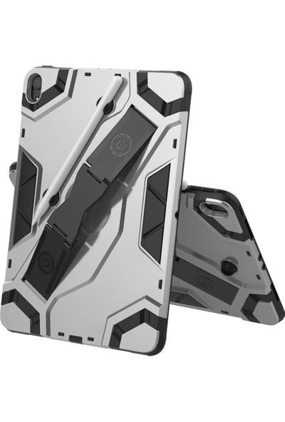 CoverZone Samsung Galaxy Tab S6 Lite SMP610 Kılıf Standlı Shockproof Vegapad Gümüş