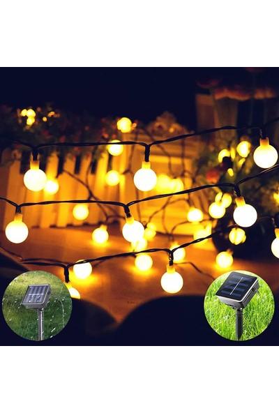 Leddükkanı 30 LED 5 Metre Sarı Solar Güneş Enerjili Bahçe Teras Balkon Ağaç Lambası Aydınlatması