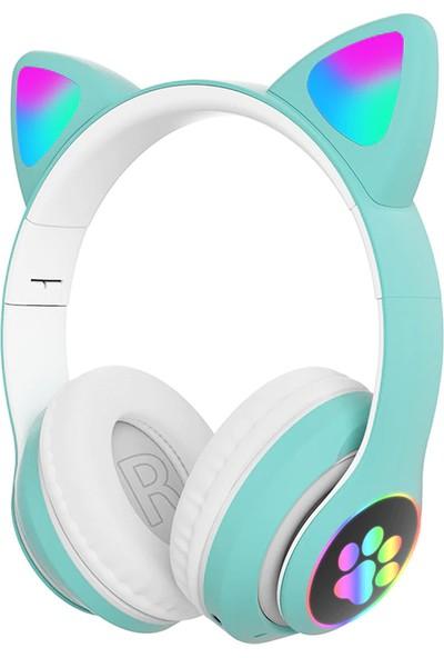 CoverZone Cat Headset Multi Purpose Stn-28 Bluetooth Kulaküstü Kulaklık Rgb Yeşil