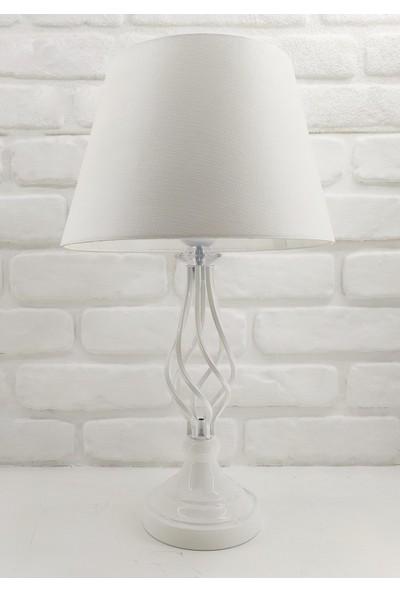 365gunserisonu Beyaz Rustik Burgulu Taşlı Metal Ayaklı 30'luk Beyaz Şapkalı Abajur Masa Lambası Model-2