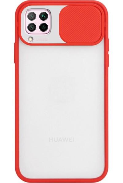 KZY Huawei P40 Lite Kapak Lensi Açılır Kapanır Kamera Korumalı Silikon Kılıf Kırmızı
