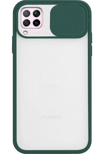 KZY Huawei P40 Lite Kapak Lensi Açılır Kapanır Kamera Korumalı Silikon Kılıf Yeşil