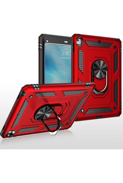 Happyshop Apple iPad Pro 11 Için Çift Katmanlı Yüzüklü Manyetik Standlı Vega Kapak Kırmızı