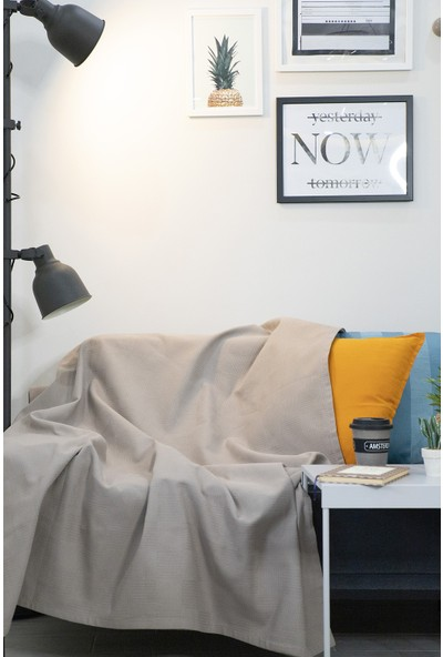 Ely Parker Sütlü Kahve 200 x 230 cm Çift Kişilik Pike & TV Battaniyesi & Çeyizlik Örtü