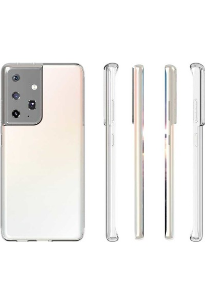 Tekno Grup Samsung Galaxy S21 Ultra Kılıf Lüx Silikon Kılıf Şeffaf + Tam Kaplayan 6d Polymer Nano Ekran Koruyucu Şeffaf