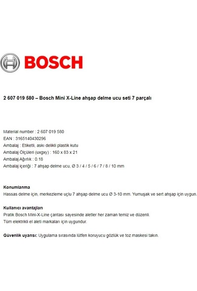 Bosch 2 607 019 580 Mini X-Line Ahşap Delme Ucu Seti 7 Parçalı