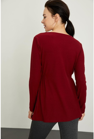 DeFacto Beli Büzgü Detaylı Uzun Kollu Hamile Örme Bluz
