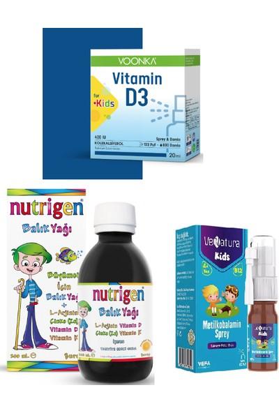 Nutrigen Balık Yağı Şurubu 200 Ml+Voonka Kids D3 Vitamini 20 ml Sprey&damla+Venatura B12 Vitamini 5ml Sprey