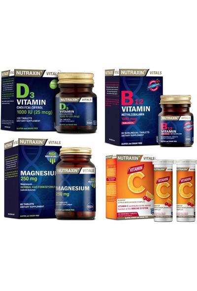 Nutraxin Magnezyum 60 Tablet+D3 Vitamini 120 Tablet+ B12 Vitamini 60 Dilaltı T.+C Vitamini 28 Çiğneme T.