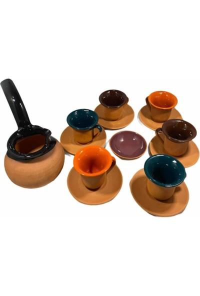 Yöreden Sepete Cezveli Renkli Çömlek Toprak Fincan Takımı