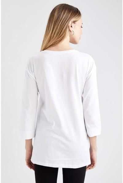 DeFacto Yırtmaç Detaylı Relax Fit Hamile T-Shirt