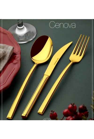 Cenova Gold 42 Parça 6 Kişilik Kaşık Bıçak Seti Gold Kaşık Bıçak Seti