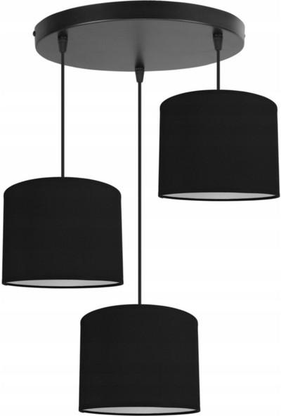 Biantigo Bg- Dark 3'lü Siyah Şapkalı Rustik Modern Plafonyer Sarkıt Salon