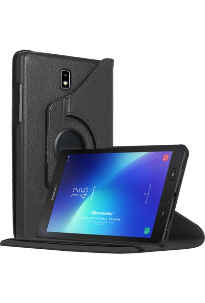 Microsonic Samsung Galaxy Tab Active2 T390 Kılıf 360 Rotating Stand Deri Siyah
