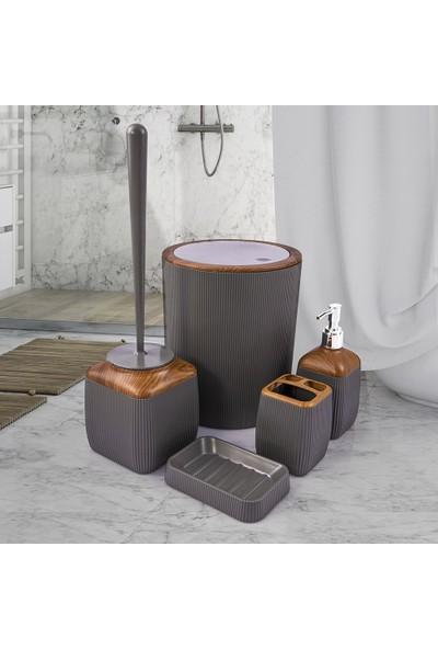 Okyanus Gri Ahşap Desen Banyo Seti / Çizgili Ahşap Detaylı Banyo Takımı / Gri Ahşap Desen 5'li Banyo Takımı
