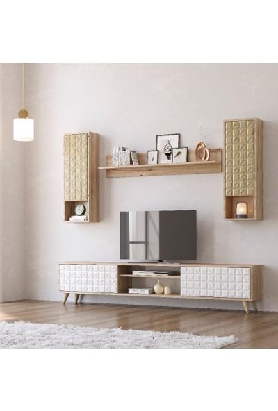 Zenio Elegance Membran Tv Ünitesi 170 cm - Safir Meşe Beyaz