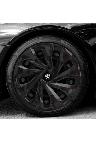 Avsaroto Peugeot 301 15'' Inç Piano Black Parlak Siyah 4lü Set Jant Kapağı