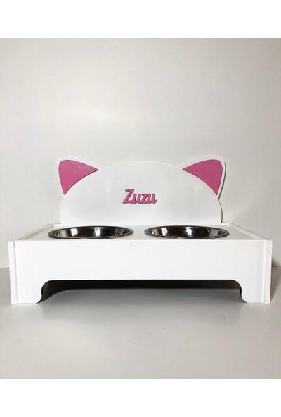 Cute Animals Design Isme Özel Tasarım Beyaz Pembe Renk Çelik Kaseli Ahşap Mama Kabı
