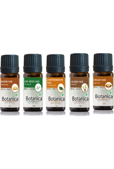 Botanica Dökülme Önleyici Saç Bakım Seti (Badem, Çay Ağacı, Çamterebentin, Jojoba, Argan Yağı) 5 x 10 ml