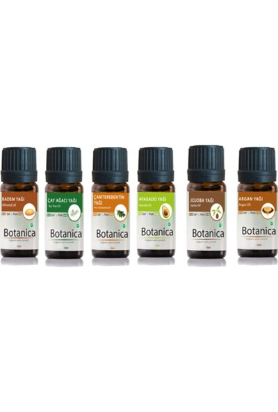Botanica Saç Bakım Yağ Seti (Badem, Çay Ağacı, Çam Terebentin, Avokado, Jojoba, Argan Yağı) 6 x 10 ml