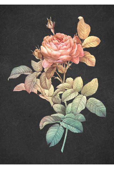 Markabi Çiçek - Aynalı Çerçeveli Cam Tablo