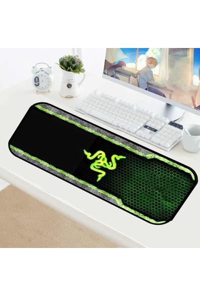 Appa Yeşil 3 Desenli Oyuncu Mouse Pad 70 x 30 cm Kaymaz Dikişli