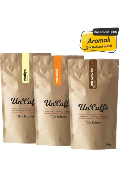 Un Caffe Aromalı Türk Kahvesi Seti - Vanilya, Portakal, Sade 3X100gr