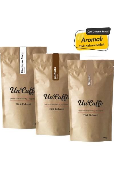 Un Caffe Aromalı Türk Kahvesi Seti - Hindistan Cevizli, Çikolata, Badem 3X100gr
