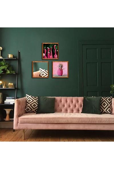 Arti2tr Ayna Saat Tablo Flamingo Dekoratif 3lü Set