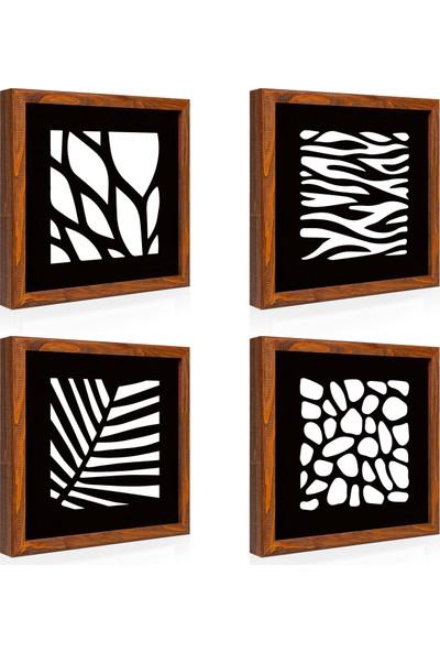 Arti2tr Geometrik Desenli Aynalı Ahşap Set