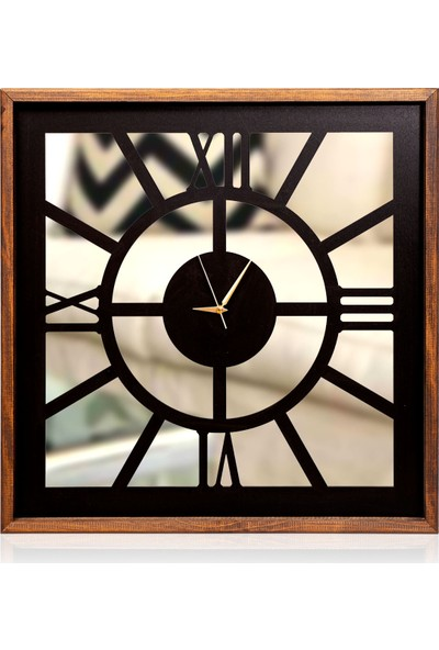 Arti2tr Dekoratif Roma Rakamlı Aynalı Ahşap Saat