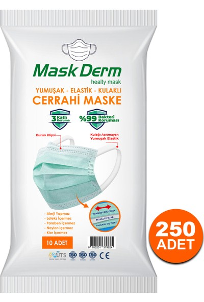Maskderm Cerrahi Maske Yumuşak Elastik Kullaklı Filtreli Hijyen Paket 250 Adet - Mavi